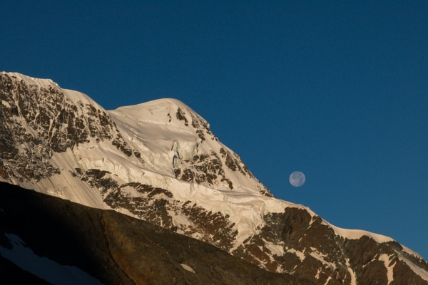 Le Breithorn et la lune