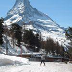 Fin de raid sur les piste de Zermatt, face au Cervin
