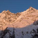 Lever du soleil sur le Dom, la Lenzspitze et le Nadelhorn