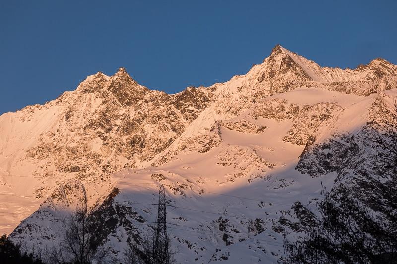 Jour 6 : Lever du soleil sur le Dom, la Lenzspitze et le Nadelhorn