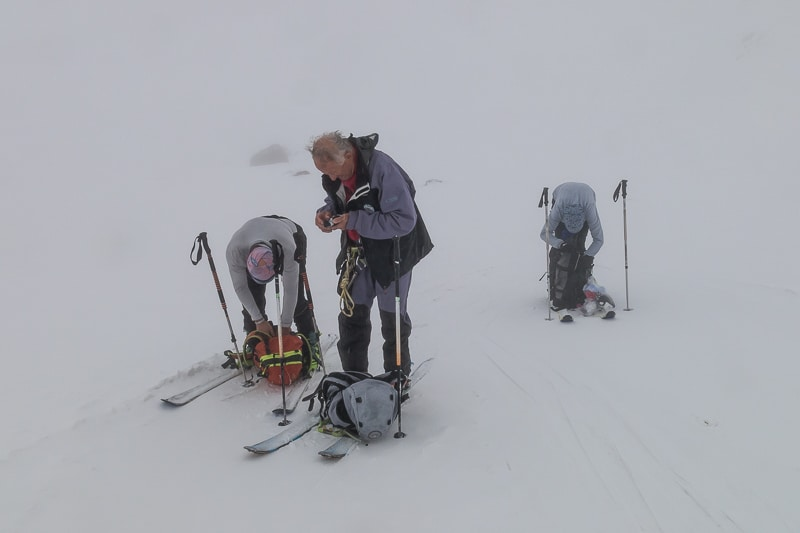 Dans le brouillard sur la Vedretta del Cevedale