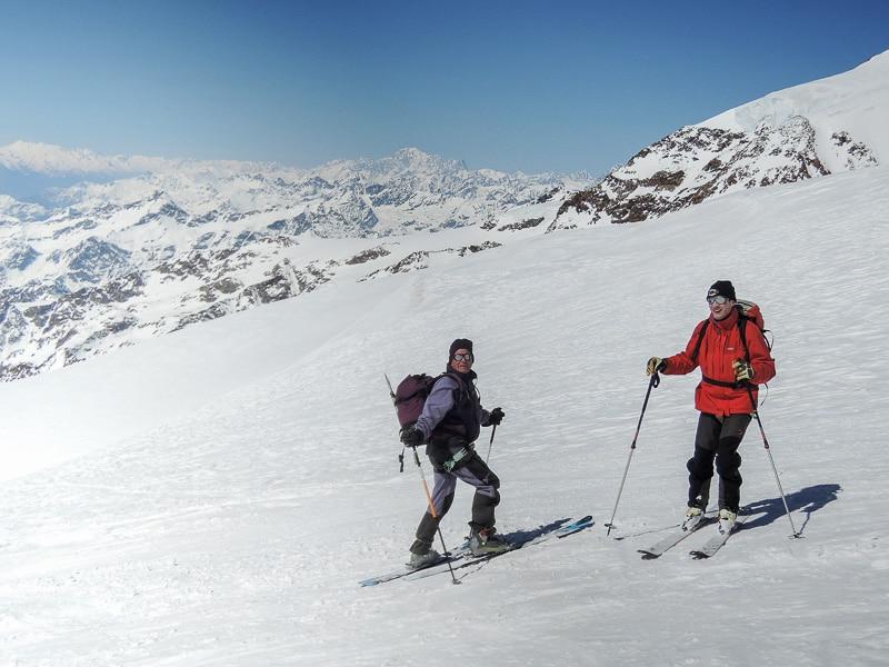 Descente face au Mont Blanc